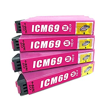 7edf226e16 インクフルサポート icm69 互換インク プリンター保証付 エプソン マゼンダ 単色 4個セット ic69