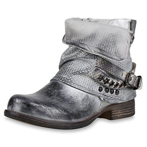 napoli-fashion Damen Biker Boots Stiefeletten Prints Profil Sohle Block Absatz Silber Nieten