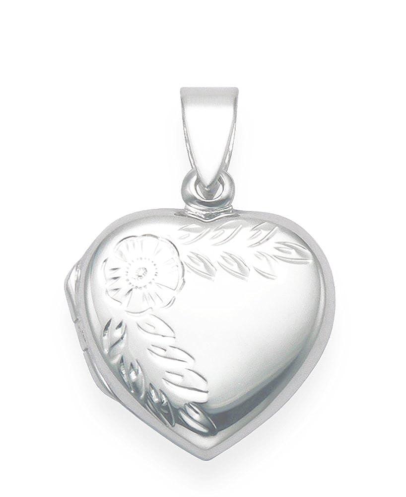 925 Sterling Silber Herz Locketanhänger mit Blumenmotiv, Größe : 17 x 17 mm Gift box - 8021 Heather Needham Silver