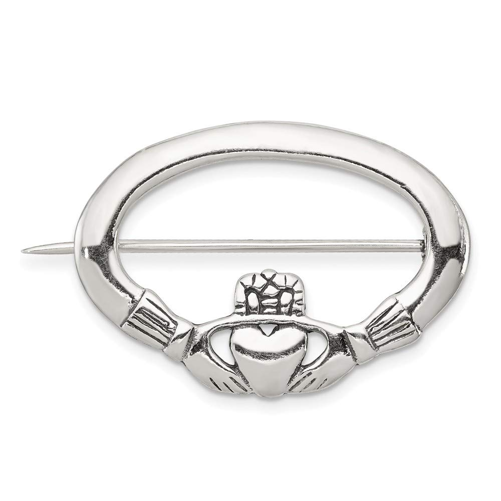 FB Jewels Solid Sterling Silver Antiqued Claddagh Pin