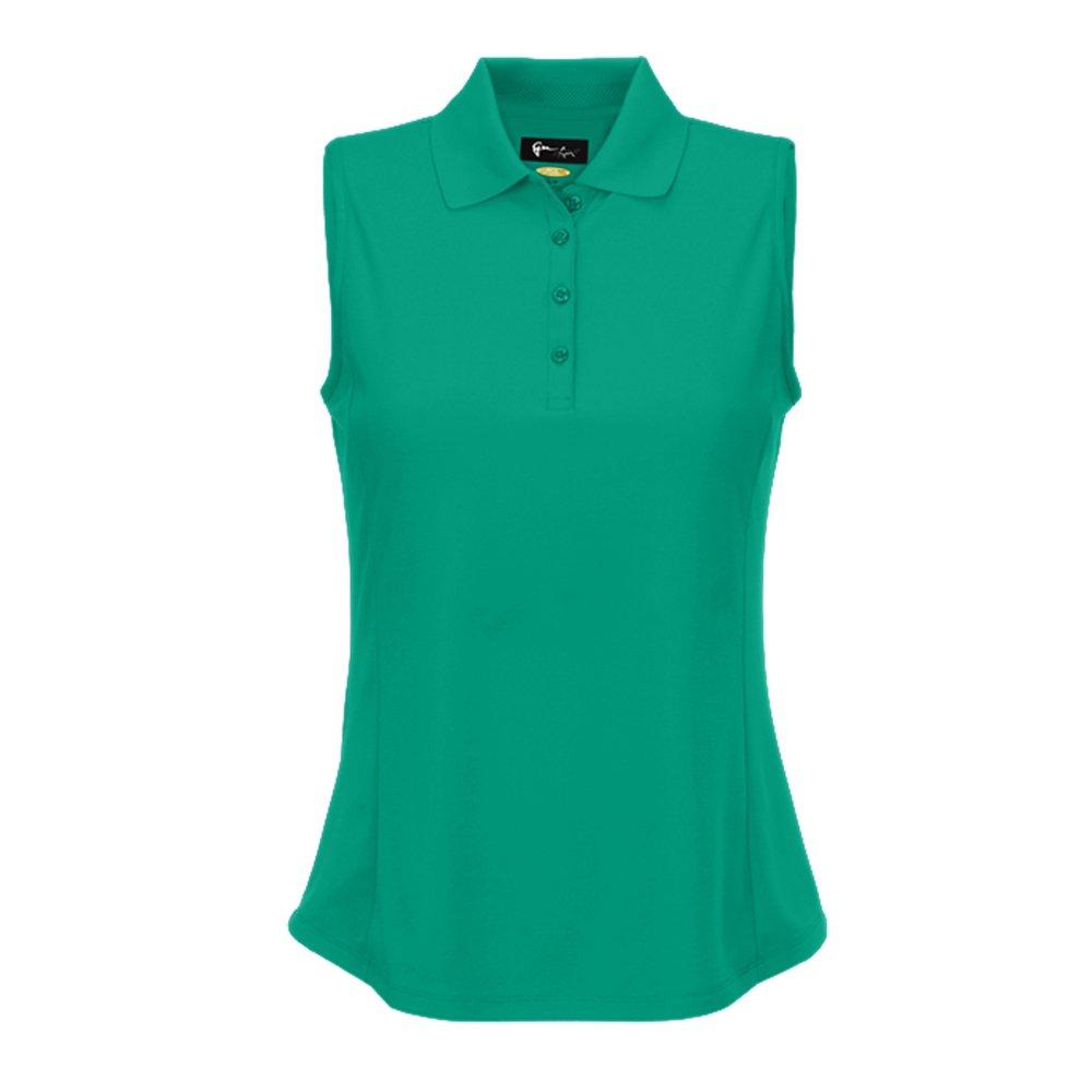 Greg Norman Womens Protek Micro Pique Sleeveless Polo Green XS