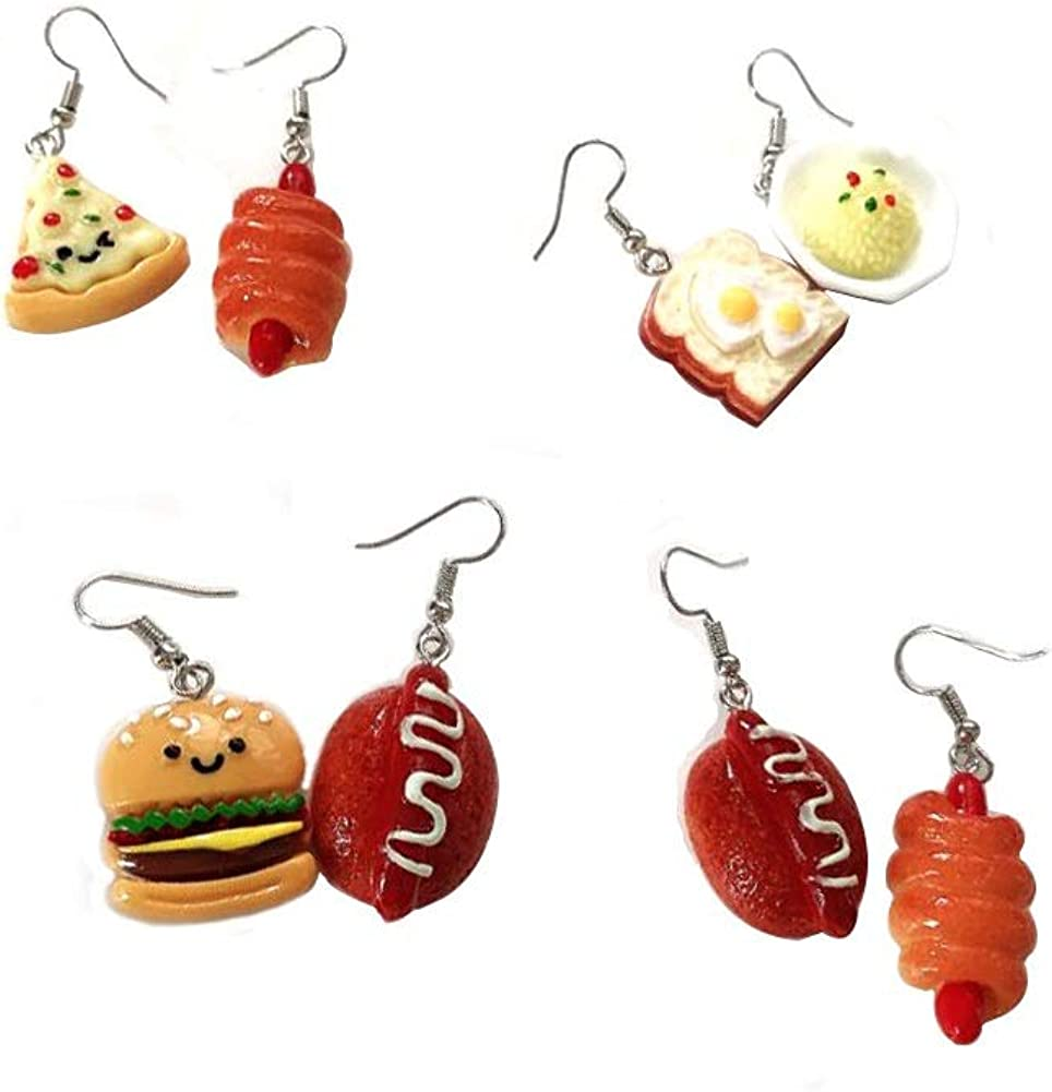 JOYID Cute Food Imitate Hamburger Banana Donut Ice Cream Dangle Stud Earrings Resin for Women Girls Jewelry (4pairs Bread)