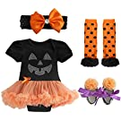 TIAOBU Baby Girls Halloween Petti Tutu Romper Headband Leg Warmer Shoes Outfits Black, Orange 0-3 Months