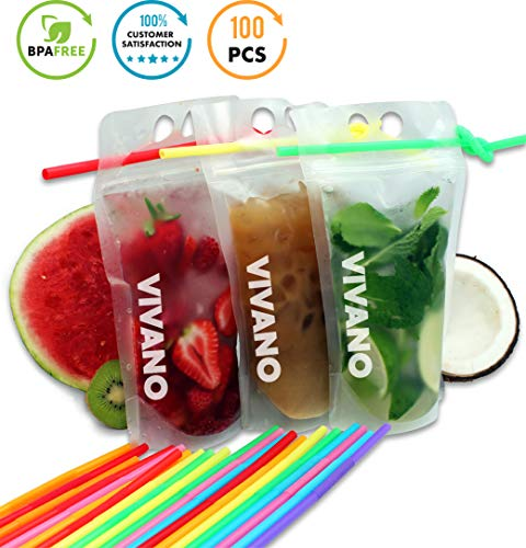 Drink Pouches 100pcs, Perfect for Frozen Smoothie, Stand-Up Translucent Plastic Bag, Disposable Drink Pouches with Straw Non Toxic, BPA Free 16 Oz Translucent Travel Mug