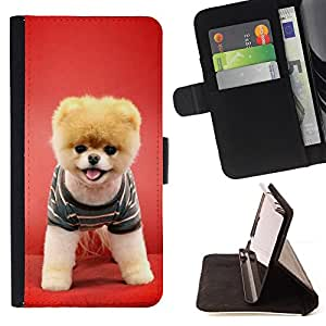 Red Puppy Dog Funny Pet Cute Canine - Painting Art Smile Face Style Design PU Leather Flip Stand Case Cover FOR Sony Xperia Z1 Compact D5503 @ The Smurfs