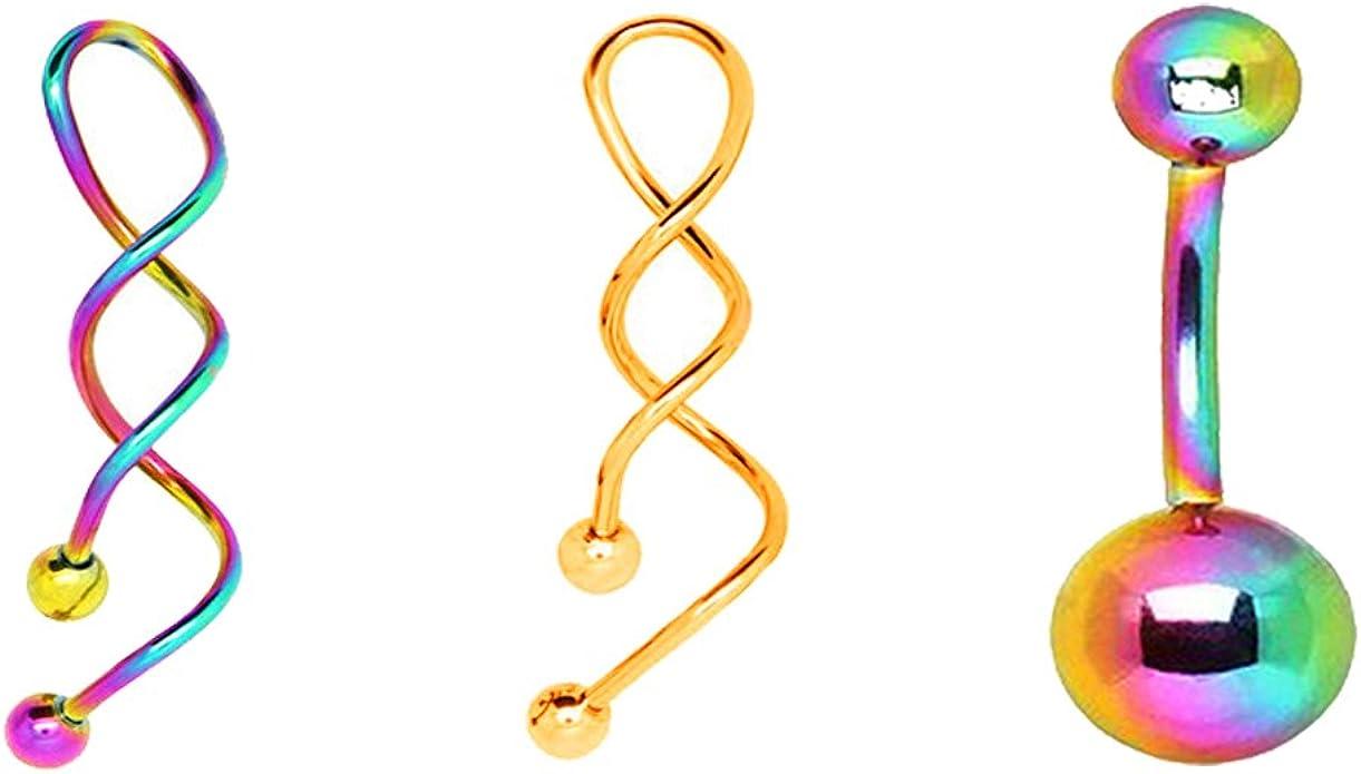 Piercing nombril spirale 1,6 mm 14 gauge Tailles aux choix