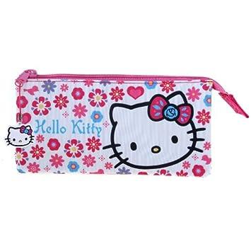HELLO KITTY FOLKSY GIRLS 3 POCKET SCHOOL PENCIL CASE STATIONERY BAG BOX OFFICIAL