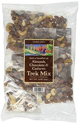 Trader Joe's Just a Handful of Almonds, Chocolate, and Cashews Trek Mix Individual Bags – 10 Count (15 oz.)
