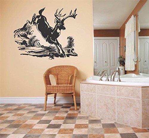 Design with Vinyl Deer 223-413 Decor Item Decal Vinyl Wall Sticker Deer Running Outdoor Scene Living Room Bedroom Kitchen Home Decor, 20-Inch x 20-Inch, Black
