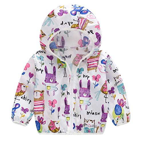 - RAINED-Unisex Kids Sun Protection Zipper Hoodie Coat Cartoon Ultrathin Windbreaker Jacket Outerwear for Travel Beach