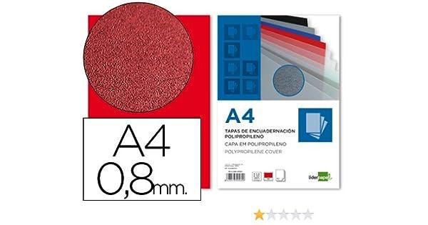 Liderpapel TE13 - Pack de 50 tapas de encuadernación, color rojo, A4, 0.8 mm: Amazon.es: Oficina y papelería