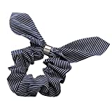 Rabbit Ear Hair Band For Women, Girls Headband Elastic Hair Rope Ring Tie Scrunchie Ponytail Holder Fashion Casual Home Students (Black)