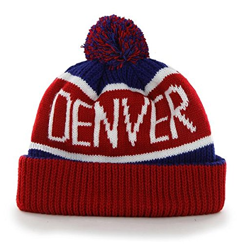 '47 Denver Nuggets Red Cuff Calgary Beanie Hat with Pom - NBA Cuffed Winter Knit Toque Cap