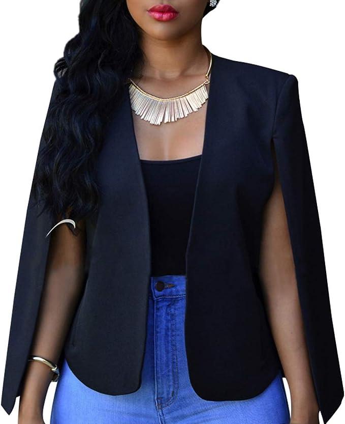 New Womens Cape Style Maxi Duster Coat Blazer Jacket Evening Xmas Party Cover Up