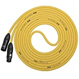 LyxPro LCP Quad Series 25ft XLR 4-Conductor Star Quad Microphone Cable for Extremely Low Noise and Improved Sound Clarity, Yellow