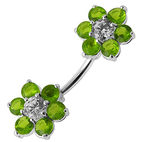 Peridot Green Large CZ Stone Flower 925 Sterling Silver Double Side Belly Button Ring Jewelry
