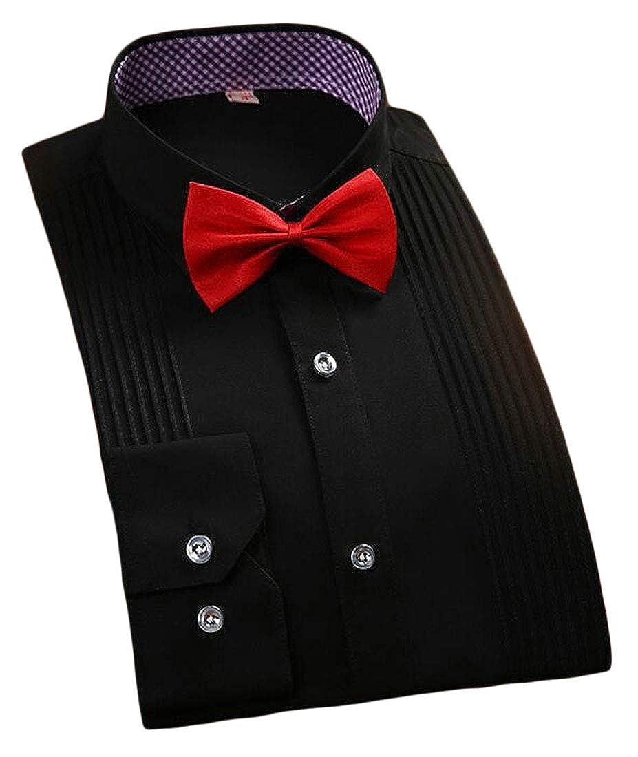 WSPLYSPJY Mens Tuxedo Shirt Laydown Collar Bow-Tie Dress Shirt