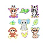 Darice 36 Beanie Boos Foam Jungle Themed Peel Off Stickers from Ty~Elephant/Giraffe/Zebra/Monkey/Cheetah~Arts & Crafts~Scrap Booking