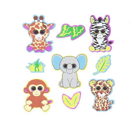 Darice 36 Beanie Boos Foam Jungle Themed Peel Off Stickers from Ty~Elephant/Giraffe/Zebra/Monkey/Cheetah~Arts & Crafts~Scrap Booking