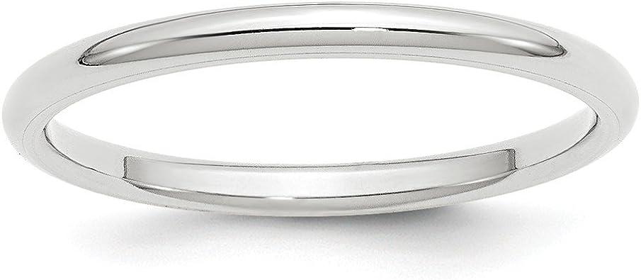 Solid 14k White Gold 2mm Standard Comfort Fit Wedding Band