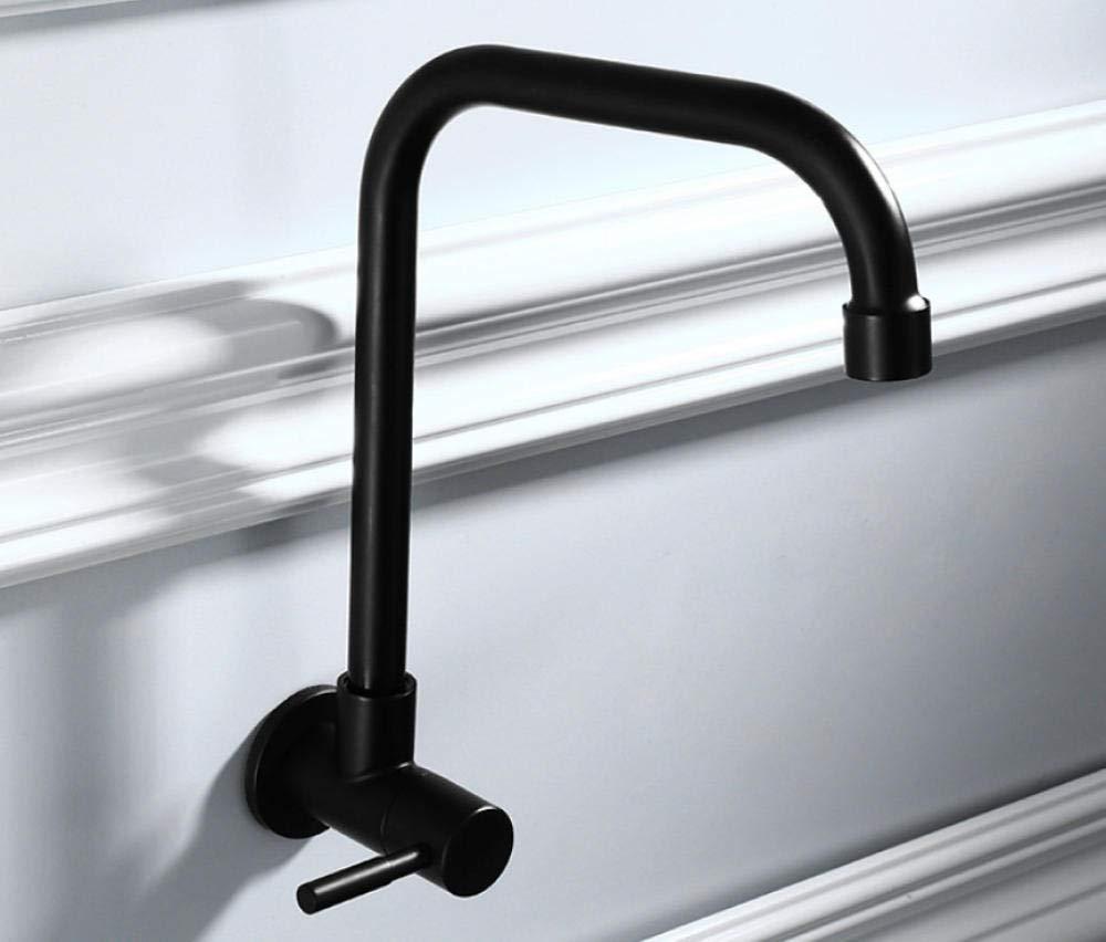 CZOOR Llave giratoria de la cocina de acero inoxidable 304 sola fr/ía montada en la pared balc/ón negro lavadero grifo de la piscina C531