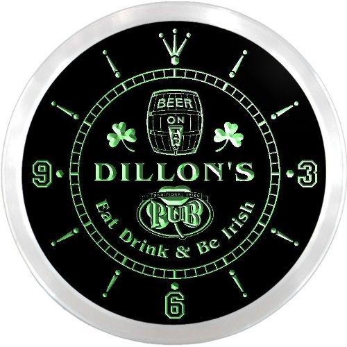 ncpa0964-g DILLON'S Irish Shamrock Pub Beer Pub LED Neon Sign Wall Clock