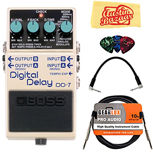 Boss DD-7 Digital Delay Bundle with Instrument Cable, Patch Cable, Picks, and Austin Bazaar Polishing Cloth - Best Guitar Delay Pedal
