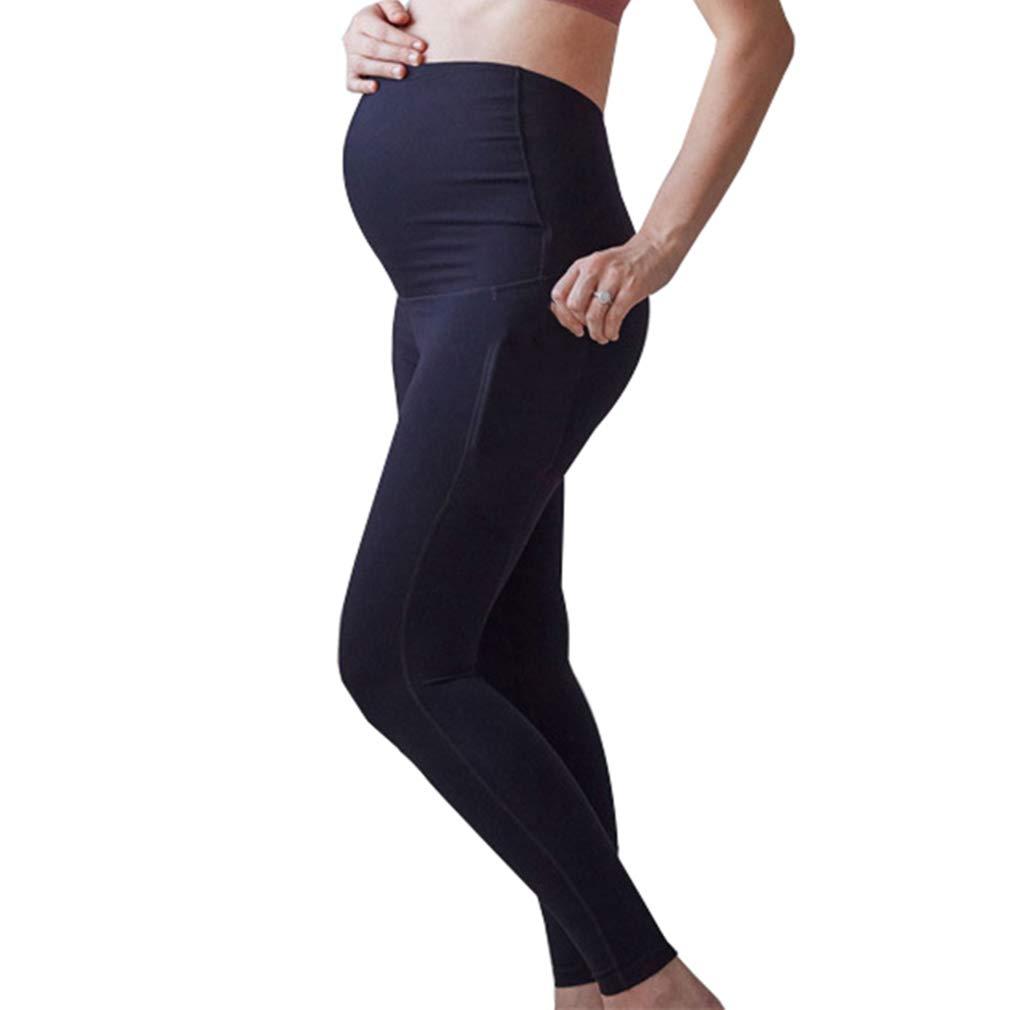 Mxssi Damen Umstandsmode Leggings Elastische Hohe Taille Schwangerschafts Leggings Bequem Umstandsmode f/ür den Alltag und Sport Schwanger