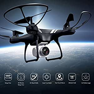 KUSOII Drone with Camera Live Video for Kids Beginners 20 Minutes Flying Time FHD 1080p 110° Wide Angle Len Camera VR Quadcopter Toy with Mobile Control Altitude Hold Black