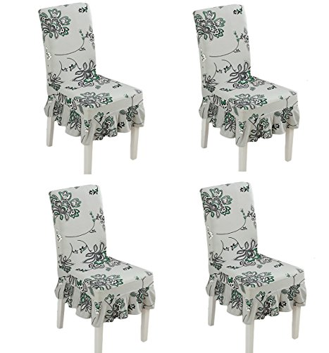 (Deisy Dee Print Pattern Ruffled Long Skirt Dining Chair Slipcovers (Pack of 4) C028 (Grey)