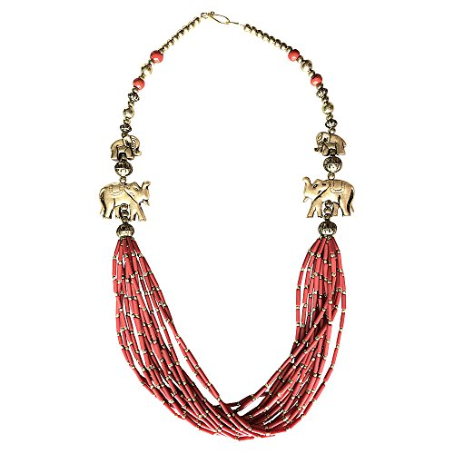 Mirabella BellaMira Women's Statement Necklace Artisan Crafted Silver & Gold Plated Vintage Coral Handmade Spiritual Jewellery Gift Boxed ('Goddess' Coral & Gold Elephant Necklace)