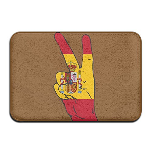 Peace Sign Of Spain Flag Indoor Outdoor Entrance Rug Non Slip Standing Mat Doormat Rugs For Home by HONMAt-Non