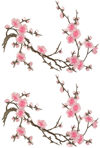 Two Asian Cherry Blossom Sakura Flower Iron on Embroidered Appliques Patch Japanese Chinese (Bright - Acetate Japanese
