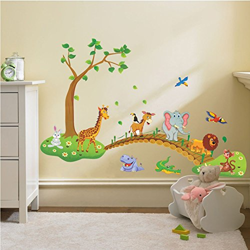 Three Posts Classic Horizontal Wall Décor Reviews: 3D Cartoon Jungle Wild Animal Tree Bridge Lion Giraffe
