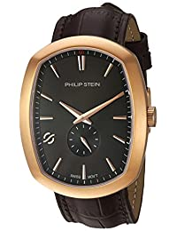 Philip Stein Men's 'Modern' Swiss Quartz Stainless Steel and Leather Casual Watch, Color:Brown (Model: 72RGP-CRGBK-CSTACH)