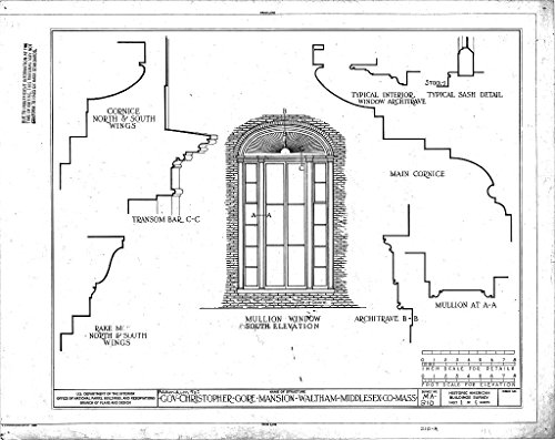 (Historic Pictoric Blueprint Diagram Mullion Window South Elevation, Sash Details, and Details - Governor Christopher Gore Mansion, 52 Gore Street, Waltham, Middlesex County, MA 14in x 11in )