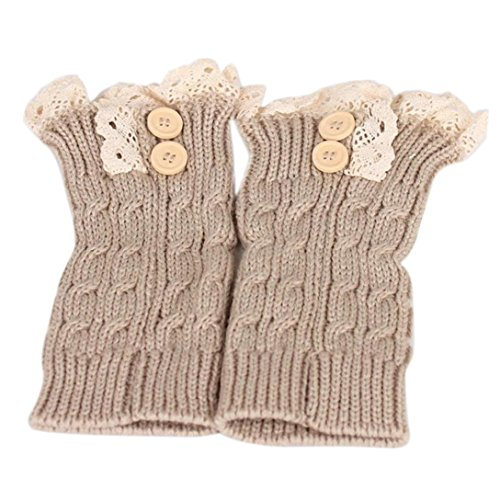 Checkered Thigh High Tights - DMZing Women's Winter 2 Pack of Lace Stretch Boot Leg Cuffs Leg Lady Warmers Button Socks Topper Cuff (Beige)