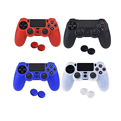 Vvesoase Silicone Protective Skin Cover Non-slip for PS4 Controller x 4 pcs+ Thumb Grips Attachments x 8 - Non Slip Protective Skin