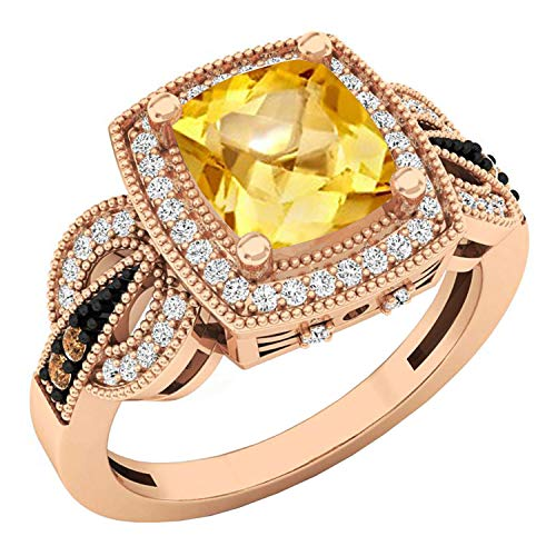 Dazzlingrock Collection 14K 8X7 MM Cushion Citrine, Round Champagne & White Diamond Ladies Ring, Rose Gold, Size 8