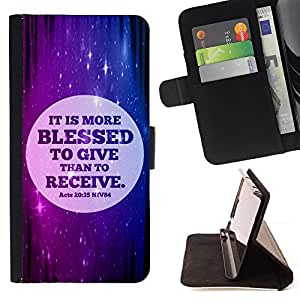BullDog Case - FOR/Samsung Galaxy A3 / - / IT IS MORE BLESSED TO GIVE THAN TO RECEIVE - ACTS 20:35 /- Monedero de cuero de la PU Llevar cubierta de la caja con el ID Credit Card Slots Flip funda de cuer