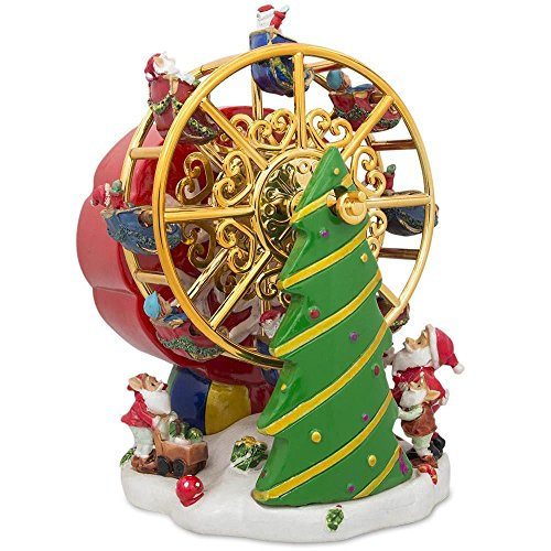(BestPysanky Rotating Ferris Wheel with Santa and Christmas Tree Musical Figurine)