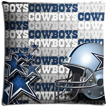 WarmHome Custom Dallas Cowboys Home Decorative Soft Throw Pillowcase Cushion Custom Pillow Case Cover Protecter with Zipper Standard Size 18x18 Inches Two Sides Printed