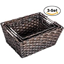 Woven Basket, MaidMAX Set of 3 Rectangular Wicker Rattan Nesting Baskets Storage Bins Containers Organizers Boxes with Handles for Shelves Pantry Bedroom Closet Organization