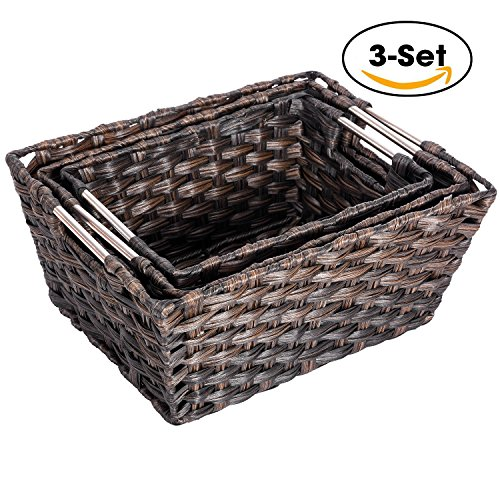 Rattan Basket, MaidMAX Set of 3 Rectangular Wicker Woven Nesting Baskets Storage Bins Containers Organizers Boxes with Handles for Shelves Pantry Bedroom Magazine Organization
