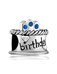 Charmed Craft Happy Birthday Cake Gift Jan-Dec Birthstone Crystal Candles Charm Beads New Jewelry Sale For Charm Bracelets