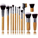 Jmkcoz 12 pcs Makeup Brushes Set Cosmetic Brush Bag Bamboo Brushes Foundation Concealer Eye Face Liquid Blending Blush Powder Cream Cosmetics Brush
