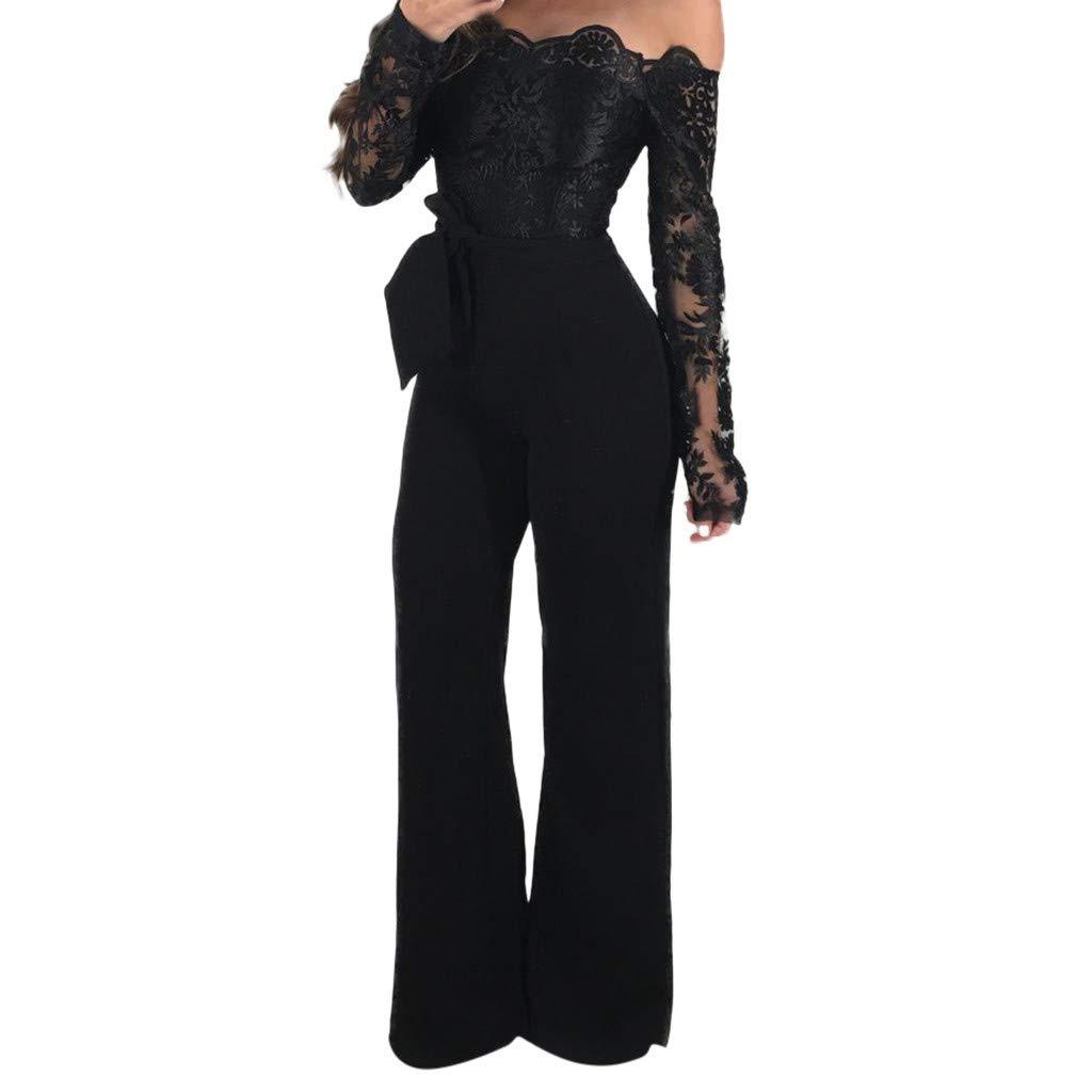 a227d82b7c2 Women Ladies Casual Lace Off Shoulder Lace Up Jumpsuit Playsuit Wide Leg  Romper (Blue -2