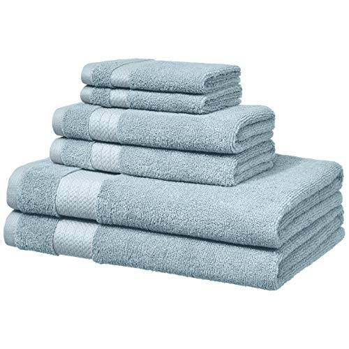 AmazonBasics Performance Bath Towels - 6 Piece Set, Aquifer Blue