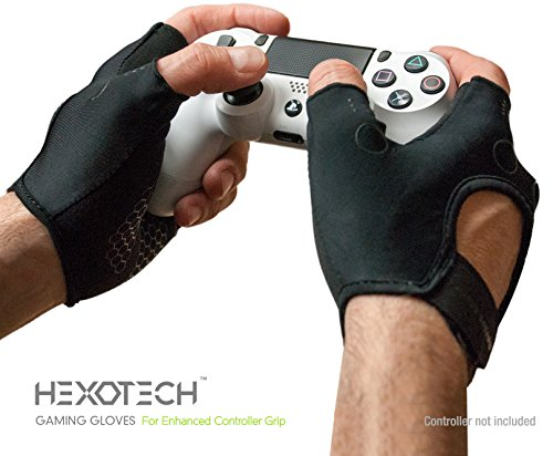 - Foamy Lizard Gaming Grip Gloves Hexotech Pro Gamer Anti-Sweat Fingerless Tactical Gloves for Controller Grip Perfect for Xbox One, Playstation 4, Switch (Set of 2 Gloves) LG
