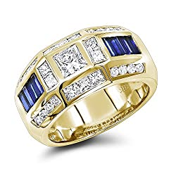 18K Gold Sapphire Diamond Ring for Men (3.5 Ctw,G-H Color)